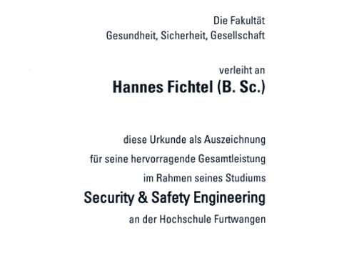 Auszeichnung der Hochschule Furtwangen