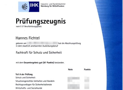 IHK-Prüfungszeugnis