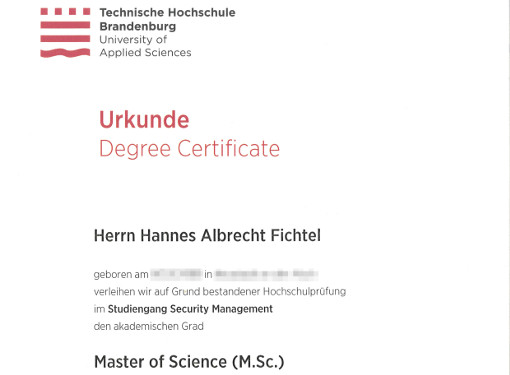 Master of Science (Security Management)