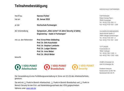 Jubiläum Security & Safety Engineering
